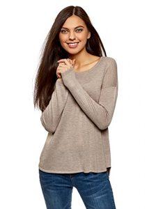 oodji Ultra Damen Lässiger Pullover mit Rundhalsausschnitt