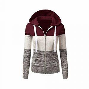 Newbestyle Jacke Damen Sweatjacke Hoodie Sweatshirt Pullover Oberteile Kapuzenpullover V Ausschnitt Patchwork Pulli mit Kordel und Zip