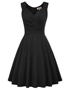 GRACE KARIN Damen Rockabilly Kleid Knielang Vintage Retro Kleider Faltenrock CL698