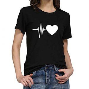 iHENGH Damen Top Bluse Bequem Lässig Mode T-Shirt Frühling Sommer Blusen Frauen Lose Oansatz Spitze der Art und Weisefrauen kurzärmliges Herz Druck