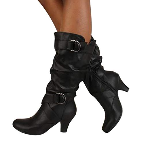 OSYARD Damen Lederstiefel Halbschaft Stiefel Hoher Absatz Freizeit Schuhe Schnalle Mode Sexy Frauen Overknee High Boot High Heel Lange Oberschenkel Stiefel Schuhe Stiefel