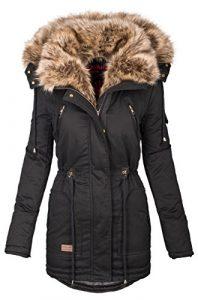Navahoo warme Damen Winter Jacke Parka lang Mantel Winterjacke Fell Kragen B380