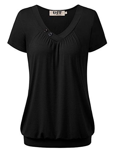 DJT Damen Basic V-Ausschnitt Kurzarm T-Shirt Falten Tops mit Knopf