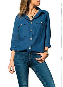 Dokotoo Damen Bluse Elegant Chiffon V-Ausschnitt Langarm Casual Oberteil Lose Langarmshirt Vintage Tunika Hemd T-Shirt S-XXL