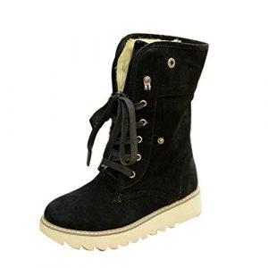 Minetom Damen Stiefeletten Matte Stiefel Schnee Winter Fur Boots Winterstiefel Warm Casual Flats Bequeme Boots