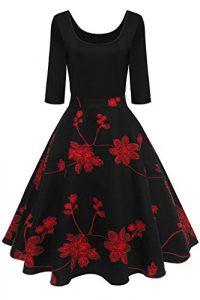 MisShow Damen Elegant Audrey Hepburn Kleid Langarm A-Linie mit Blumendruck U-Ausschnitt Partykleider Cocktailkleid Printkleid Knielang Gr.S-2XL