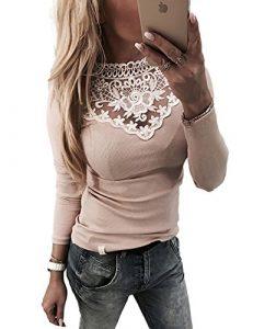 Boutiquefeel Damen Lace Splicing Langarm Schulterfreie Patchwork T-Shirt Tunic Bluse Oberteile