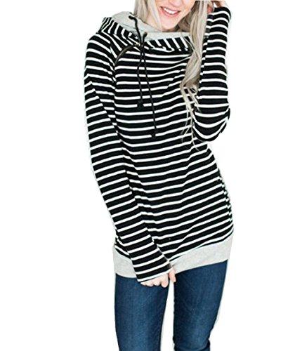 ASSKDAN Damen Gestreift Pulli Sweatshirts Hoodie Sport Langarm Reißverschluss Pullover Outerwear