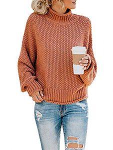 ZIYYOOHY Damen Elegant Rollkragenpullover Langarm Beiläufige Grobstrickpullover Strickpullover Sweatshirts