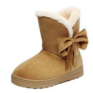 Minetom Damen Stiefeletten Mit Schleife Winterstiefel Warm Winter Boots Klassisch Snow Schuhe