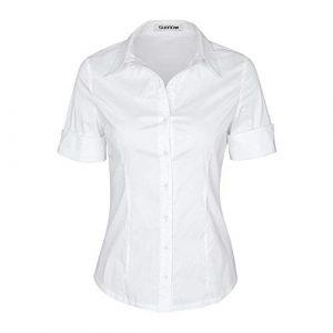 SUNNOW Damen Arbeitshemden Kurzarm Hemdbluse Einfarbig Basic Business Hemden Casual Shirtbluse Oberteil