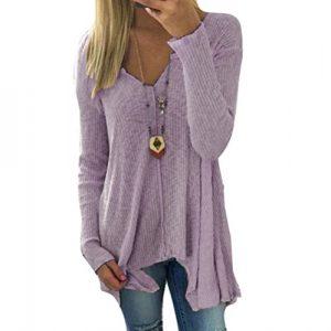 Hibote Damen Pullover V-Ausschnitt Sweater – Frauen Oberteile Langarm Shirt Jumper Strickpullover Unregelmäßiger Tops Strickpulli Herbst und Winter Sweatshirt