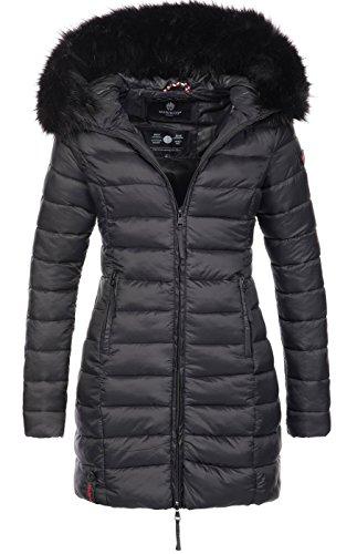 Marikoo Damen Winter Jacke Winterjacke Stepp Mantel lang gesteppt Übergang B647