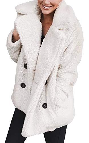 ECOWISH Damen Casual Mantel Faux Für Revers Lange Ärmel Outwear Vordere Leistentaschen Zweireihig Coat