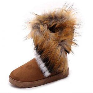 Dehots Damen Stiefel Stiefeletten Winterstiefel Kurzschaft Schlupfstiefel Schneestiefel Plüsch Schuhe Warme Gefütterte Boots Winter mit Fell für Frauen