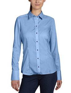Seidensticker Damen Bluse – Bügelfreie, leicht taillierte Hemdbluse mit Hemdblusenkragen – Langarm – 100% Baumwolle