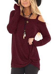 YOINS Schulterfrei Sexy Oberteil Damen Tshirt Sweatshirt für Damen Langarmshirt Off Shoulder Einfarbig