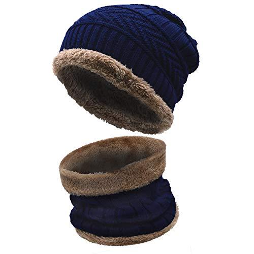 Stynice Wintermütze, Warm Beanie Strickmütze und Schal Set mit Fleecefutter - Slouch Beanie Mütze für Herren Damen