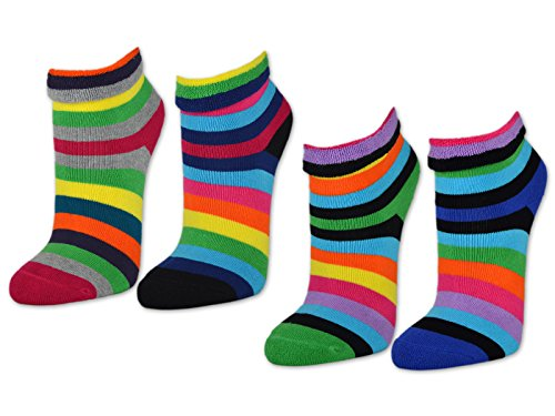 sockenkauf24 2   4   6 Paar Damen THERMO Socken Innenfrottee Umschlag-Socken Bunte Ringel Damensocken - 12790