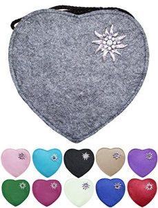 Herz Trachtentasche mit Edelweiß, Hirsch oder Herz Applikation – Schöne Handtaschen zum Oktoberfest Dirndl