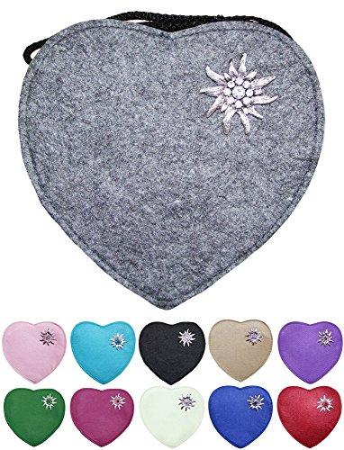 Herz Trachtentasche mit Edelweiß, Hirsch oder Herz Applikation - Schöne Handtaschen zum Oktoberfest Dirndl