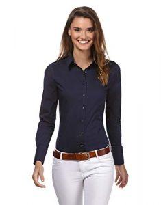 Vincenzo Boretti Damen Bluse besonders tailliert mit Stretch Langarm Hemdbluse elegant festlich Kent-Kragen auch für Business und unter Pullover