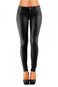 Damen Hose Hüft Kunstlederhose Skinny (No:323)