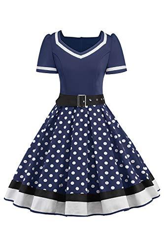 MisShow Damen elegant 50er Jahre Petticoat Kleider Gepunkte Rockabilly Kleider Cocktailkleider