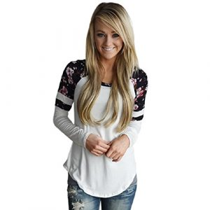 OVERDOSE Mokingtop Damen Floral Splice Printing Rundhals Pullover Bluse Tops T-Shirt Casual Blumendruck Bluseshirt Langarmshirts Blusentops Frauen Tunika Tops Oberteile