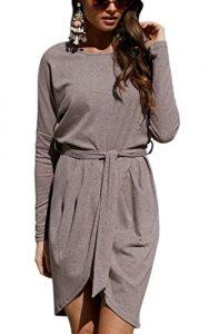 ECOWISH Damen Rundhals Kleid Beiläufiges Langarm Minikleid T-Shirt Kleid Mit Gürtel