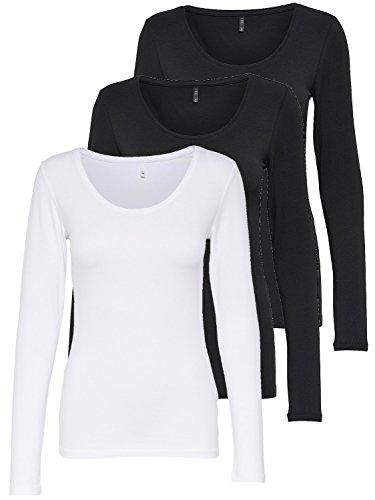 ONLY 3er Pack Damen Langarmshirt schwarz und weiß Langarm Basic Longsleeve Sommer aus 95% Baumwolle XS S M L XL 15209156