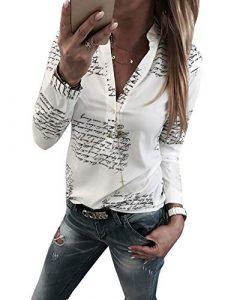 Yieune Damen Bluse Langarm V-Ausschnitt Elegant Blumen Hemd Casual Oberteile Tops