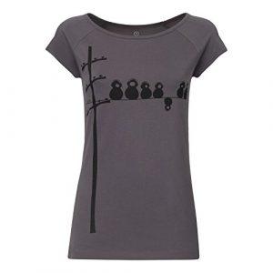 FellHerz Make Some Noise grau – Damen T-Shirt Bio & Fair 100% Bio-Baumwolle nachhaltig öko alternativ Vögel Kopfhörer Strommast schwarz cool