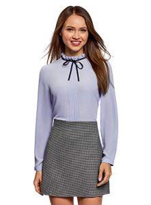 oodji Ultra Damen Bluse mit Dekorativer Schleife und Rüschen am Kragen