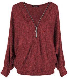 Emma & Giovanni – Pullover T-Shirt Oversize Verschluss Zip – Damen