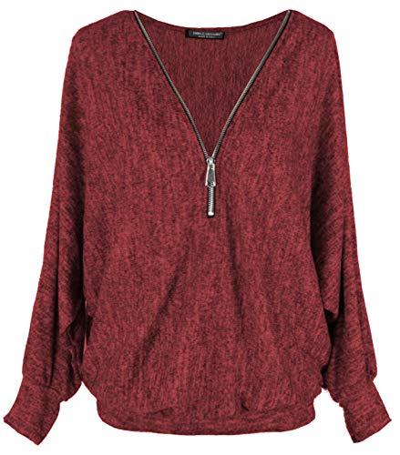 Emma & Giovanni - Pullover T-Shirt Oversize Verschluss Zip - Damen
