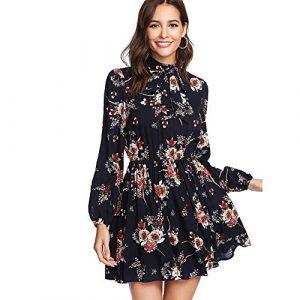 DIDK Damen Kleid Elegant Langarm Blumen Kleider Kurz Knielang Partykleid Casual für Herbst Frühling