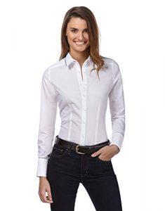Vincenzo Boretti Damen Bluse leicht tailliert 100% Baumwolle bügelleicht Langarm Hemdbluse elegant festlich Kent-Kragen auch für Business und unter Pullover