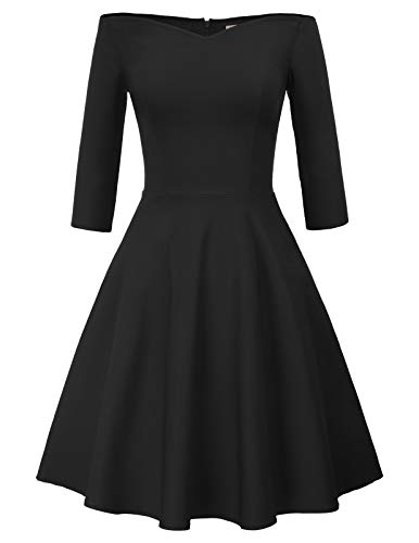 GRACE KARIN Schulterfreies Kleid 1950er Vintage Kleid 3/4 arm Petticoat Kleider CL823