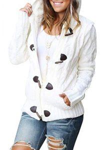 Aleumdr Strickjacke Damen Cardigan Grobstrick mit Kapuze Zopfmuster gefüttert grau Outwear Langarm für Herbst Winter grau schwarz Gestrickt Winterjacke warm