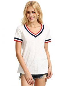 ROMWE Damen Sportlich T-Shirt V Ausschnitt Kurzarm Top