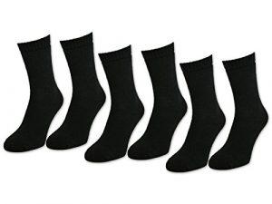 sockenkauf24 6 | 12 | 24 Paar THERMO Socken Damen & Herren Vollfrottee Schwarz Baumwolle mit Komfortbund (35-38, 6 Paar | Schwarz)