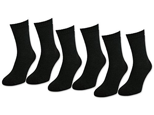 sockenkauf24 6   12   24 Paar THERMO Socken Damen & Herren Vollfrottee Schwarz Baumwolle mit Komfortbund (35-38, 6 Paar   Schwarz)