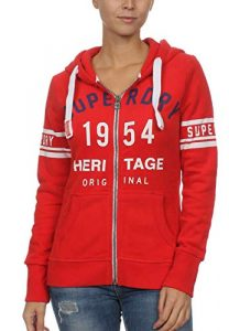 Superdry Zipper Damen 1954 Heritage Entry Zip Hood Tailgate Red