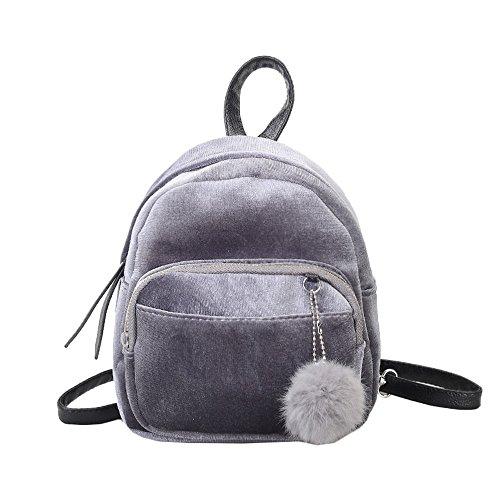 Trada Sportbeutel, Mini Fur Ball Rucksack Mode Schultertasche Einfarbig Frauen Mädchen Reise Schultaschen Reißverschluss Mädchen-Schule-Beutel Freizeitrucksack Reisetaschen