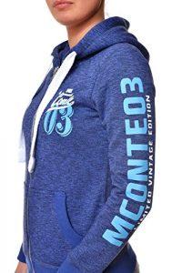 M.Conte Damen Sweatshirt Kapuzenjacke Hooded Sweater Sweat-Shirt-Jacke S M L XL Weiss Marine Blau Grau Melange Schwarz Pink Kapuze Rachel