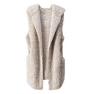 Frauen Wollmantel Damen Westen Winter Warm Hoodie Jacke Outwear Casual Mantel Faux Fur Reißverschluss Sherpa Jacke Lose Langarm Outwear Tasche Reißverschluss Winterjacke Kurz Coat