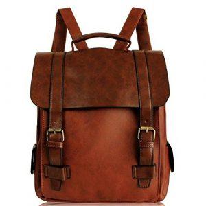 Minetom Damen Vintage British Style Leder Rucksack Schultasche Daypacks Für Outdoor Sports