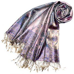 LORENZO CANA Luxus Pashmina Damenschal Schaltuch jacquard gewebt 100% Seide 70 x 190 cm Paisley Muster Seidenschal Seidentuch Seidenpashmina harmonische Farben 78083