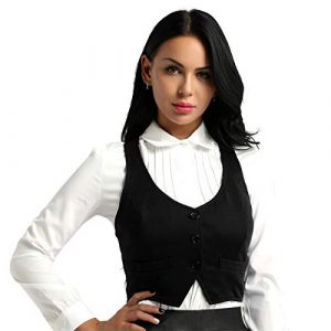 iixpin Damen Kurz Weste Anzug Weste Modern Kellnerweste Slim Fit für Restaurant Bar Service Weste Damenweste Damen Kostüm